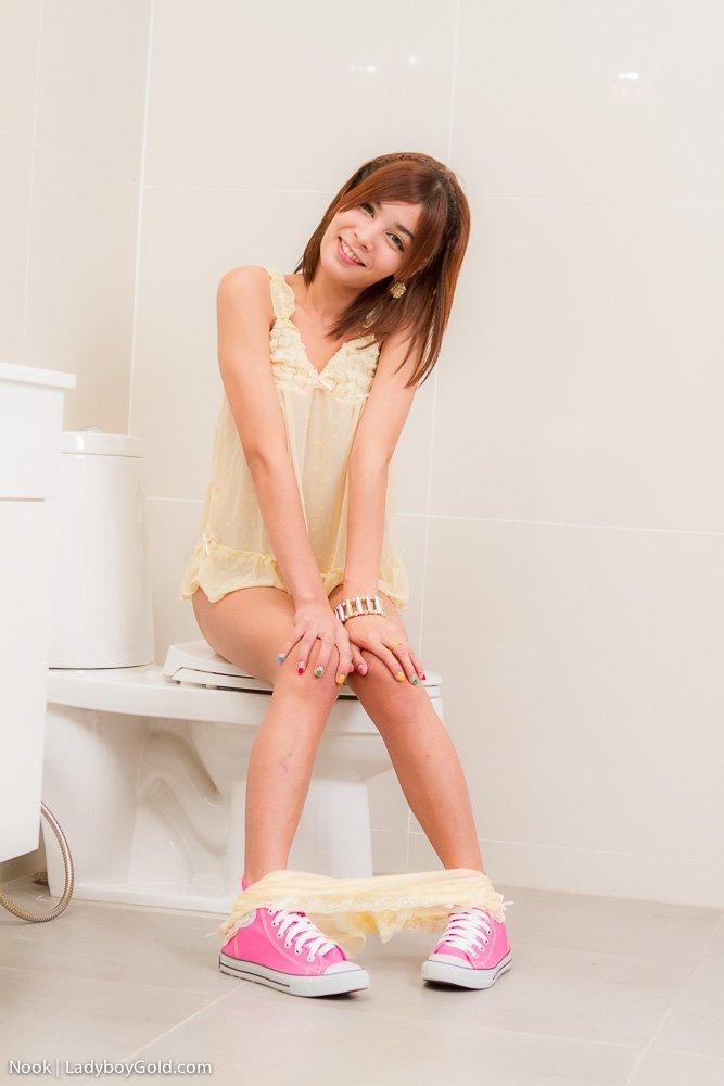 Рыжий азиатский трансвестит показывает жопу в туалете, а потом дрочит большой хуй, закрыв глаза от кайфа